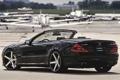 Картинка чёрный, тюнинг, Mercedes-Benz, Мерседес, кабриолет, аэродром, вид сзади