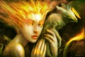 Картинка взгляд, девушка, фантастика, птица, рука, арт, феникс