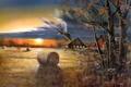 Картинка поле, осень, рассвет, птица, урожай, живопись, Jim Hansel