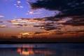Картинка пейзаж, закат, природа, река, корабль, солнца