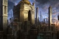 Картинка город, будущее, арт, храм, купол, мегаполис, Michal Kus