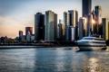 Картинка вода, закат, город, небоскребы, яхта, Чикаго, Chicago