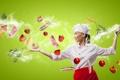 Картинка девушка, креатив, нож, повар, овощи, помидоры, морковь
