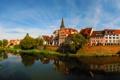 Картинка небо, вода, отражение, река, дома, Германия, набережная