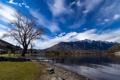 Картинка небо, облака, горы, озеро, дерево, мостик, поселок