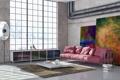 Картинка комната, диван, книги, ковёр, подушки, окно, картины