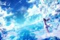 Картинка небо, девушка, облака, пейзаж, птицы, природа, аниме