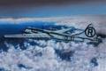 Картинка небо, облака, рисунок, арт, бомбардировщик, самолёт, американский