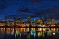 Картинка США, USA, houses, мост., night, Portland, ночь