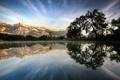 Картинка деревья, облака, горы, отражение, озеро