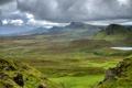 Картинка green, grass, mountains, view, clouds, rocks, Scotland