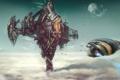 Картинка clouds, landing, steel, construction, spacecraft, powerful platform, Robert Simons
