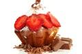 Картинка шоколад, клубника, пирожное, десерт, выпечка, chocolate, cupcake