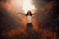Картинка природа, Balance, солнце, девочка
