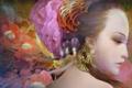 Картинка портрет, Девушка, украшения, цветы