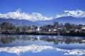 Картинка вода, горы, озеро, отражение, дома, Непал