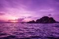 Картинка острова, закат, океан, British Virgin Islands, Pelican Island
