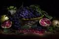 Картинка виноград, фрукты, гранаты