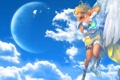 Картинка девушка, голубые, Aion, небо.облака