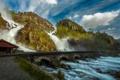 Картинка лес, вода, мост, природа, гора, водопады