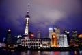 Картинка вода, ночь, огни, отражение, Шанхай, горд