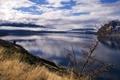 Картинка облака, трава, небо, вода, озеро, колоски, берег