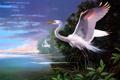 Картинка облака, залив, живопись, White Egrets at Pelican Bay, Les Didier, цапли