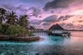 Картинка закат, пейзаж, Maldives, дома, море