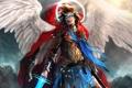 Картинка крылья, ангел, меч, арт, парень, плащ, нимб