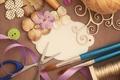 Картинка кисточки, винтаж, пуговицы, ленты, ножницы, нитки, vintage