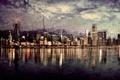 Картинка Город, Панорама, Чикаго, Гранж
