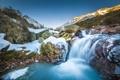 Картинка зима, снег, горы, природа, река, камни