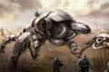 Картинка деревья, оружие, война, роботы, солдаты, кусты, шагатели
