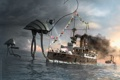 Картинка ocean, war, water, flags, robots, ships, machines