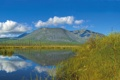 Картинка небо, трава, облака, природа, озеро, отражение, гора