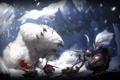Картинка снег, монстр, войны, медведь, ярость, цепь, битва