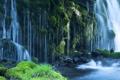 Картинка камни, водопад, мох, поток