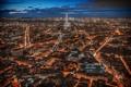 Картинка облака, ночь, огни, башня, париж, дома, панорама