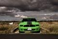 Картинка дорога, поле, машина, небо, тучи, зеленый, mustang