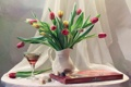 Картинка праздник, вино, бокал, букет, конфеты, тюльпаны, натюрморт