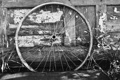 Картинка white, bicycle wheel, wood, black, metal