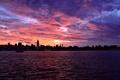 Картинка море, небо, пейзаж, закат, город, горизонт, wallpapers