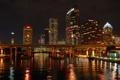 Картинка пейзаж, река, небо, Tampabay, Florida, U.S.A., ночь