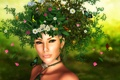 Картинка девушка, бабочки, цветы, пыльца, Природа