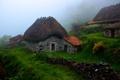 Картинка горы, туман, дом, Испания, Астурия