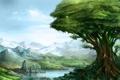Картинка пейзаж, скалы, девушка, зелень, озеро, дерево, арт