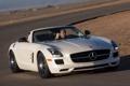 Картинка авто, Roadster, Mercedes-Benz, скорость, трасса, AMG, SLS