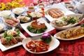 Картинка чай, мясо, рис, овощи, морепродукты, японская кухня, блюда