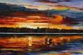 Картинка вода, пейзаж, краски, картина, горизонт, Leonid Afremov, леонид афремов