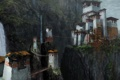 Картинка горы, мост, скалы, азия, здания, водопад, разруха
